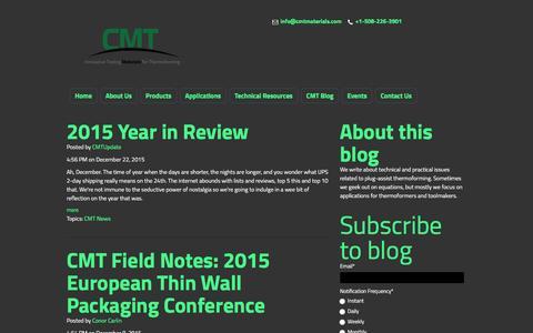Screenshot of Blog cmtmaterials.com - CMT Materials Blog | HYTAC syntactic foam plug assist - captured Jan. 23, 2016