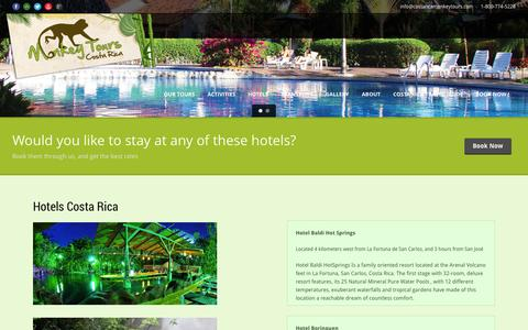 Screenshot of Locations Page costaricamonkeytours.com - Hotels Costa Rica - captured Sept. 30, 2014