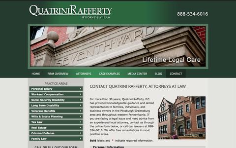 Screenshot of Contact Page qrglaw.com - Contact | Quatrini Rafferty, P.C. | Greensburg Pennsylvania - captured Jan. 22, 2016