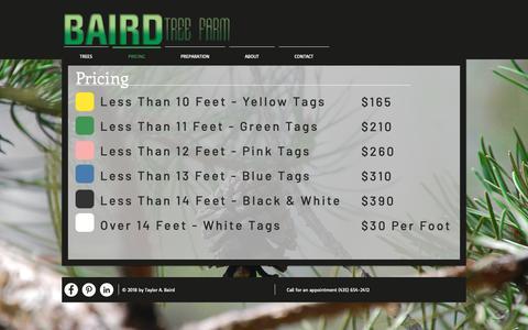 Screenshot of Pricing Page bairdtreefarm.com - Baird Tree Farm | PRICING - captured Nov. 4, 2018