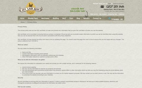 Screenshot of Privacy Page getlaidbeds.co.uk - Privacy Policy - captured Sept. 18, 2014
