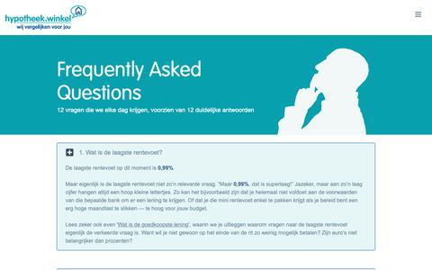 Screenshot of FAQ Page hypotheekwinkel.be - 12 vragen, 12 duidelijke antwoorden - captured Sept. 30, 2018