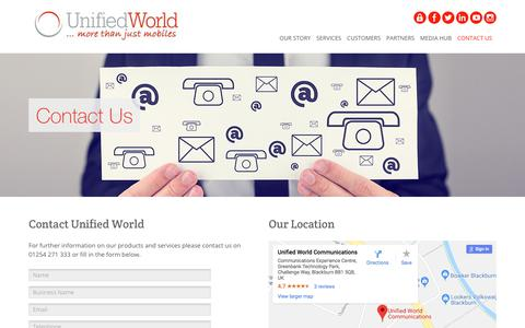 Screenshot of Contact Page unifiedworld.co.uk - Business Phone Systems | Contact Unified World - captured Feb. 1, 2018