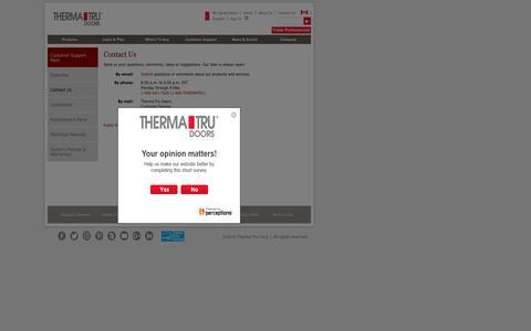 Screenshot of Trial Page thermatru.com - Contact Us | Therma-Tru - captured Nov. 14, 2016