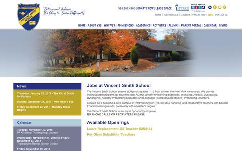 Screenshot of Jobs Page vincentsmithschool.org - Jobs at Vincent Smith School - captured Nov. 19, 2018