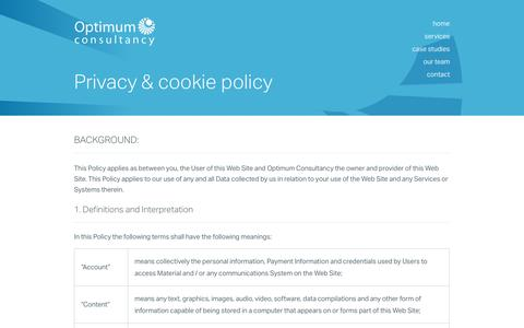 Screenshot of Privacy Page optimum.uk.com - Committed To Delivering Project Success | Optimum Consultancy - captured Nov. 3, 2014