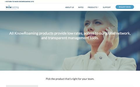 Screenshot of Products Page knowroaming.com - KnowRoaming Business – Products – KnowRoaming - captured June 9, 2017