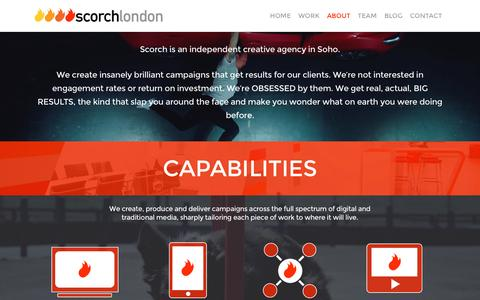 Screenshot of About Page scorchlondon.com - Creative advertising agency services - Scorch London - captured Dec. 18, 2016