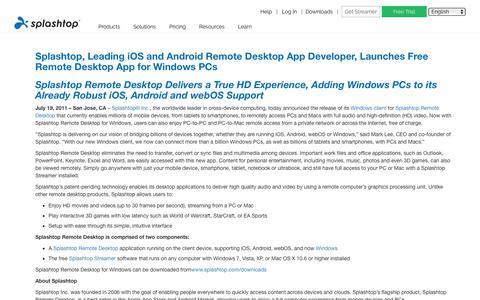 Screenshot of Developers Page splashtop.com - Splashtop, Leading iOS and Android Remote Desktop App Developer, Launches Free Remote Desktop App for Windows PCs - Splashtop Inc. - captured Jan. 3, 2020