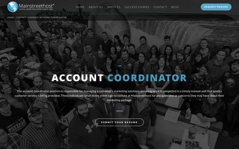 Screenshot of Jobs Page mainstreethost.com - Account Coordinator in Buffalo, NY | Career Opportunities at Mainstreethost - captured Oct. 23, 2016