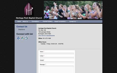Screenshot of Contact Page heritageparkbc.org - Heritage Park Baptist Church - Contact Us - captured Oct. 2, 2014