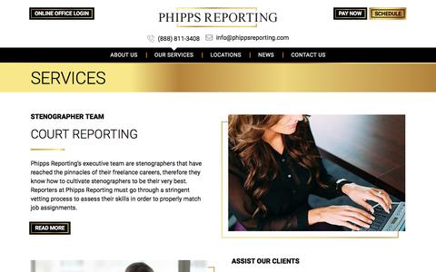 Screenshot of Services Page phippsreporting.com - Services - Phipps Reporting - captured Dec. 3, 2019