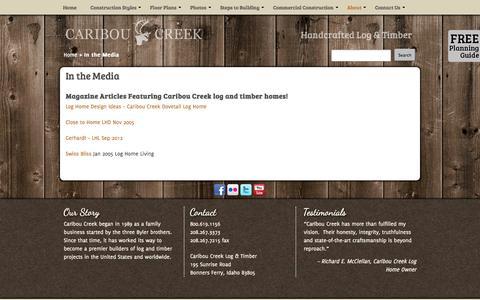 Screenshot of Press Page cariboucreekloghomes.com - In the Media - Caribou Creek Log & Timber - captured Sept. 27, 2014