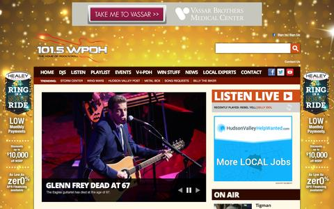 Screenshot of Home Page wpdh.com - 101.5 WPDH Radio – The Home of Rock and Roll – Poughkeepsie Classic Rock Radio - captured Jan. 20, 2016