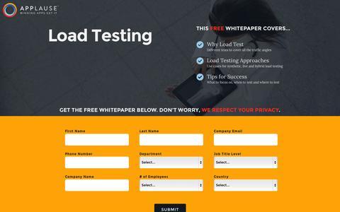 Screenshot of Landing Page applause.com captured Oct. 27, 2014