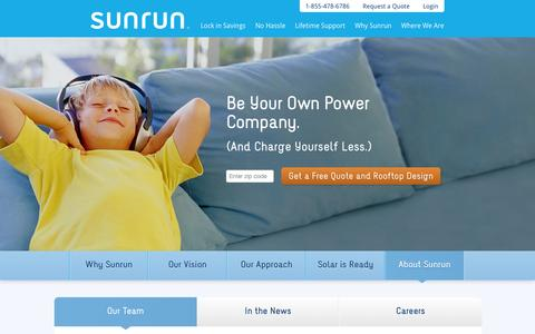 Screenshot of Contact Page sunrun.com - About Sunrun - Residential Solar Financing, Installation & Service - captured Sept. 17, 2014