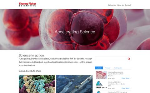 Screenshot of Blog thermofisher.com - Accelerating Science Blog   Thermo Fisher Scientific - captured Sept. 11, 2016