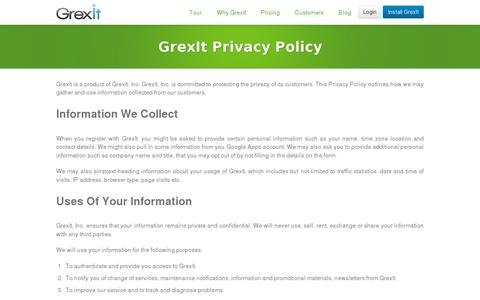 Screenshot of Privacy Page grexit.com - GrexIt Privacy Policy - captured July 20, 2014