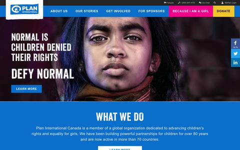 Screenshot of Home Page plancanada.ca - International Development Agency, Children's Charity Organization  - Plan International Canada - captured Nov. 5, 2018
