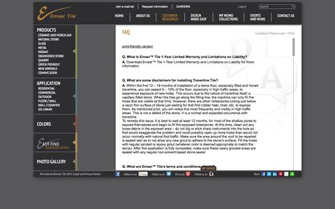 Screenshot of FAQ Page emser.com - Emser Tile & Natural Stone: Ceramic and Porcelain Tiles, Mosaics, Glass Tiles, Natural Stone: Customer Resources, FAQ - captured Nov. 3, 2014