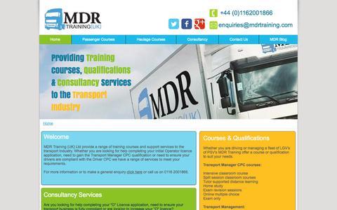 Screenshot of Home Page mdr-driver-cpc-training.com - MDR Training UK Ltd - Training for Transport - captured Oct. 3, 2014
