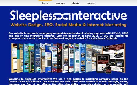 Screenshot of Home Page sleeplessinteractive.com - Web Design & Social Media Marketing   Sleepless Interactive - captured Sept. 5, 2015