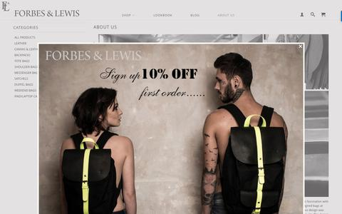 Screenshot of About Page forbesandlewis.com - About Us - Leather handbags   Designer bags   Forbes & Lewis - captured June 6, 2017