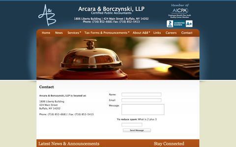 Screenshot of Contact Page abllpcpa.com - Arcara & Borczynski, LLP - Contact - captured Oct. 27, 2014