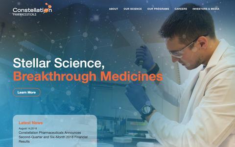 Screenshot of Home Page constellationpharma.com - Stellar Science, Breakthrough Medicines - captured Sept. 29, 2018