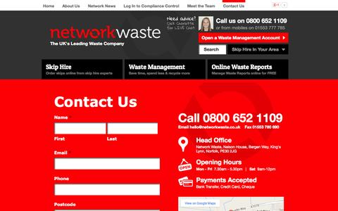 Screenshot of Contact Page networkwaste.co.uk - Network Waste | Contact Us - captured Oct. 9, 2014