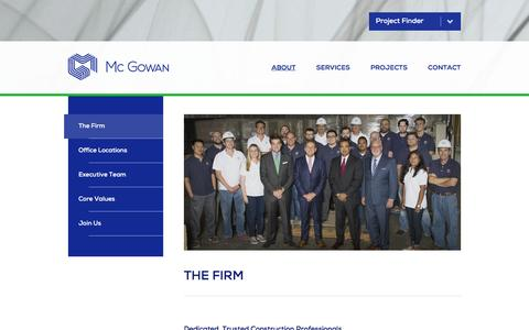 Screenshot of About Page mcgowanbuilders.com - The Firm | Mc Gowan | Construction Management & General Contractor - captured Feb. 12, 2016