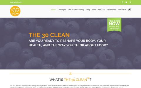 Screenshot of Home Page the30clean.com - The 30 Clean - captured Jan. 26, 2015