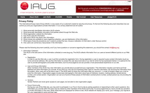 Screenshot of Privacy Page iaug.org - International Avaya Users Group : Privacy Policy - captured Sept. 23, 2014