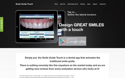 Screenshot of Home Page smileguidetouch.com - New Smile Guide dental app - captured Oct. 7, 2014