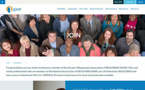 Screenshot of Signup Page gaar.com - Join | Greater Albuquerque Association of REALTORS® - captured June 24, 2017