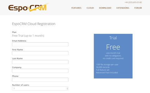 Screenshot of Trial Page espocrm.com - Cloud Registration | EspoCRM | Open Source CRM - captured May 11, 2017