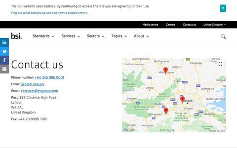 Screenshot of Contact Page bsigroup.com - Contact us | BSI Group - captured Dec. 7, 2019