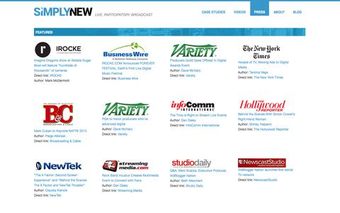 Screenshot of Press Page simplynew.com - Press   SIMPLYNEW - captured Oct. 26, 2014