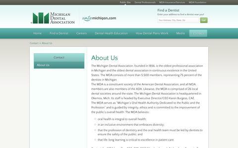 Screenshot of About Page smilemichigan.com - Michigan Dental Association > Smile Michigan > Contact > About Us - captured Oct. 27, 2014