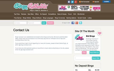 Screenshot of Contact Page bingoreviewer.co.uk - Contact Us | Bingo Reviewer - captured Aug. 2, 2018