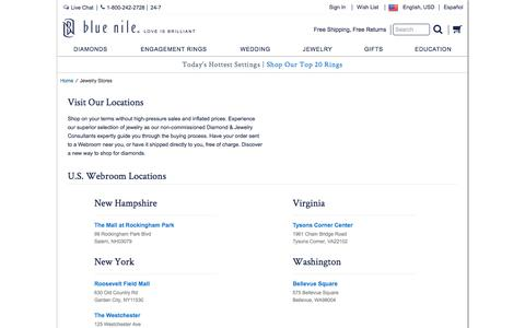 Screenshot of Locations Page bluenile.com - Jewelry Store Locations   Blue Nile - captured March 2, 2018