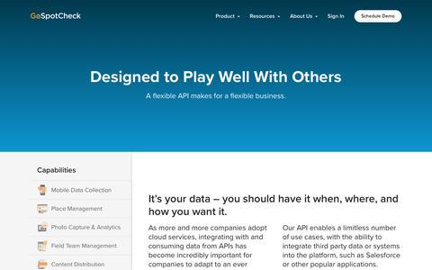 Screenshot of Developers Page gospotcheck.com - Developer API | GoSpotCheck - captured Feb. 4, 2017