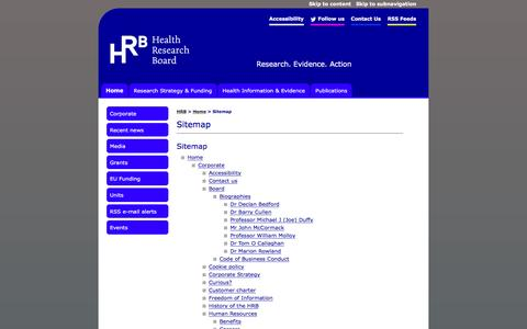 Screenshot of Site Map Page hrb.ie - Health Research Board: Sitemap - captured Jan. 27, 2016