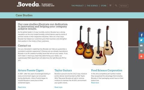 Screenshot of Case Studies Page bovedainc.com - Case Studies | Boveda® Official Site | Find Boveda Here! - captured Sept. 23, 2014