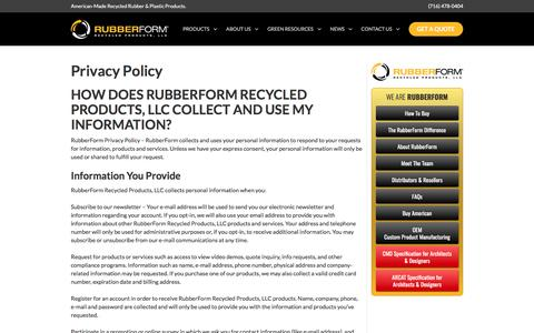 Screenshot of Privacy Page rubberform.com - Privacy Policy | Rubberform Recycled Products LLC - captured May 11, 2017