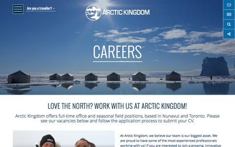 Screenshot of Jobs Page arctickingdom.com - Outdoor Adventure & Office Jobs   Arctic Kingdom - captured July 30, 2018