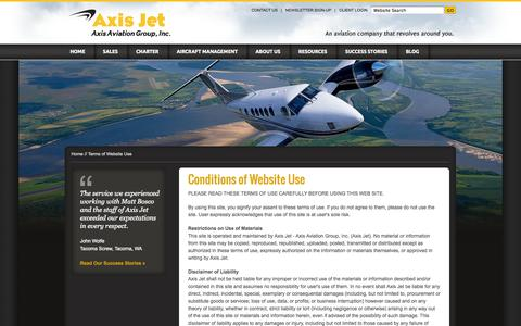 Screenshot of Terms Page axisjet.com - Terms of Use - Sacramento aircraft sales, Sacramento air charter, jet, turboprop, aviation management – Axis Jet -  Axis Aviation Group - captured Sept. 30, 2014