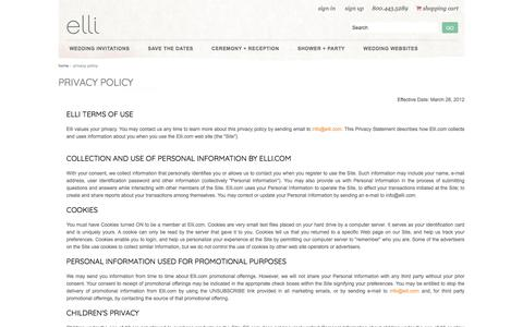 Screenshot of Privacy Page elli.com - Privacy Policy - captured Sept. 27, 2017
