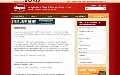 Screenshot of Testimonials Page ibpa-online.org - IBPA Member Testimonials - captured Sept. 19, 2014