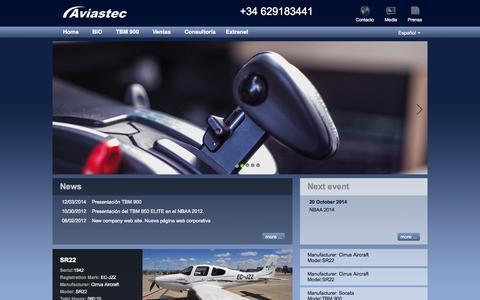 Screenshot of Home Page aviastec.com - Aviastec - captured Sept. 30, 2014